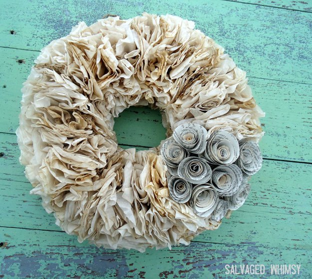 Coffee Filter Wreath | 15 Creative DIY Coffee Crafts