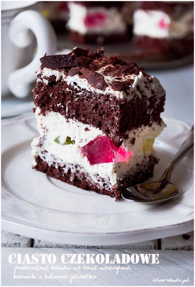Chocolate Cake Layered with Mascarpone Cream and Jelly