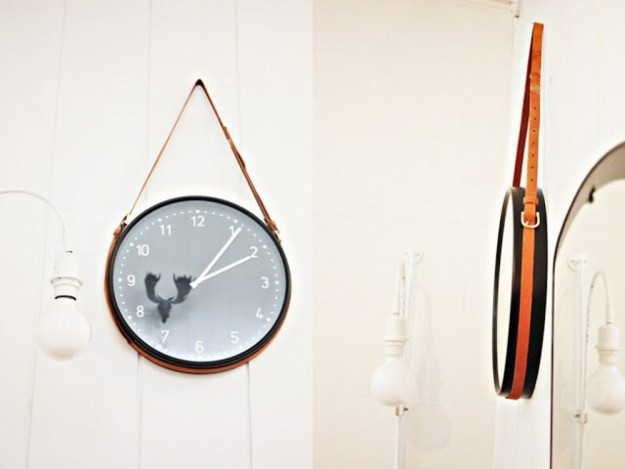DIY Leather Belt Clock Hanger   15 Free Recycled Craft Ideas: Beautify Your Space Without Spending a Dime