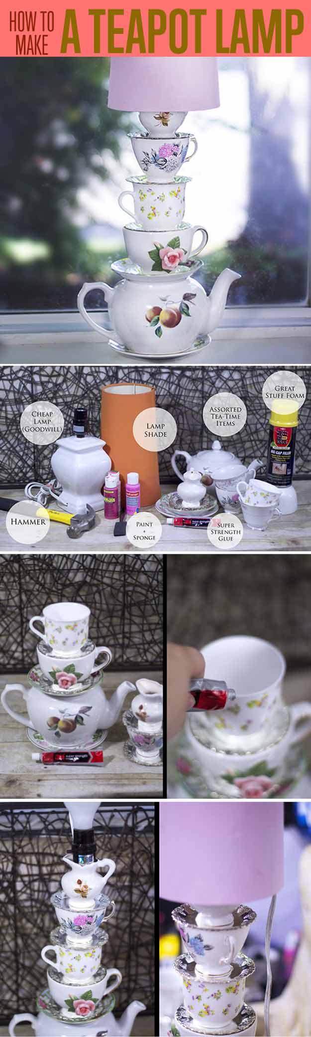 Alice in Wonderland Style Stacked Teacup Lamp | 15 DIY Teen Girl Room Ideas