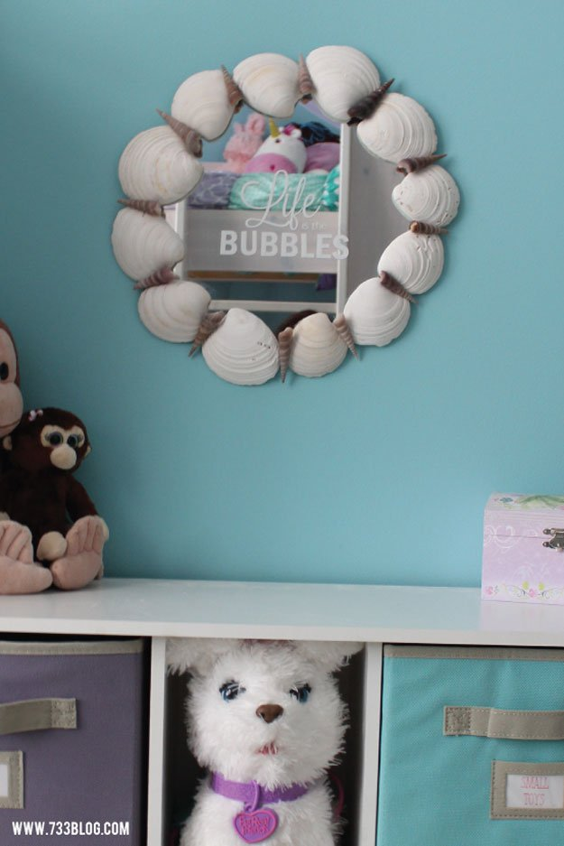 Life is the Bubbles Sea Shell Mirror | 15 DIY Teen Girl Room Ideas