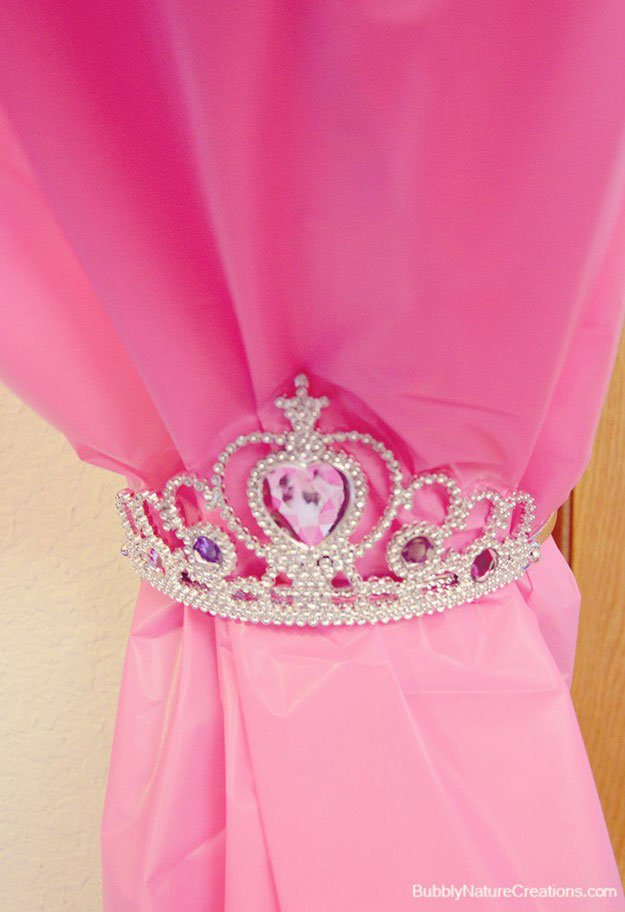 Princess Tiara Curtain Tie | 15 DIY Teen Girl Room Ideas