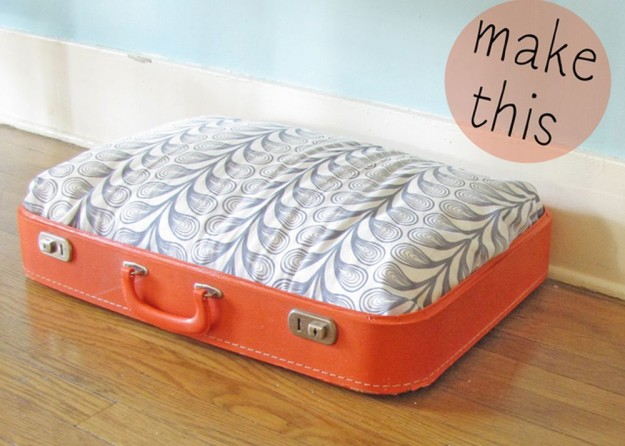 DIY Vintage Suitcase Dog Bed 1