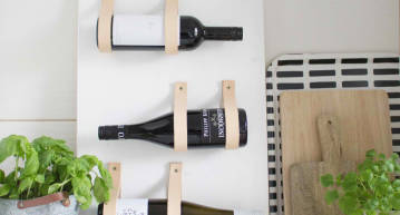 DIY Wine rack with leather straps