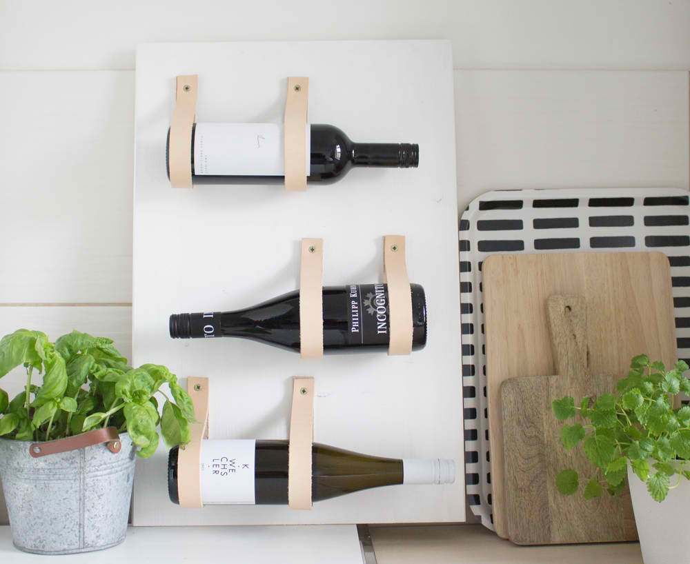 DIY Wine rack with leather straps | 18 Ingenious DIY Projects to Make in Under an Hour