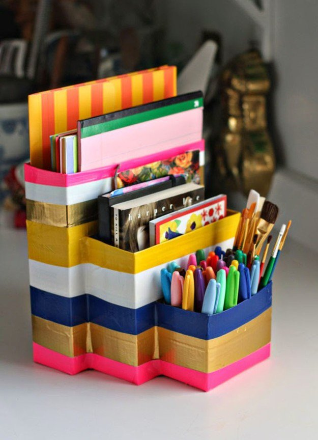 Duct Tape and Empty Cartons Homework Caddy | 15 Free Recycled Craft Ideas: Beautify Your Space Without Spending a Dime