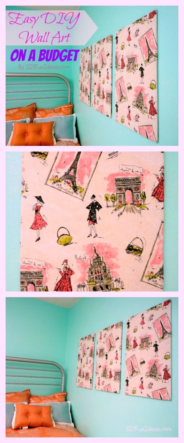 Fabric Panel DIY Wall Art | 15 Free Recycled Craft Ideas: Beautify Your Space Without Spending a Dime