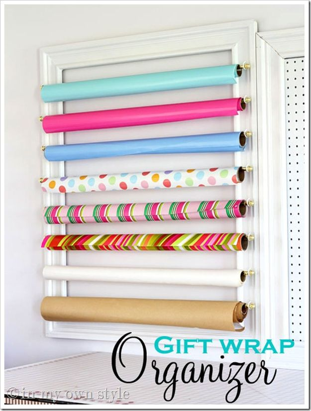 Gift Wrap Organizer | 26 Craft Room Ideas Every Crafter Would Love