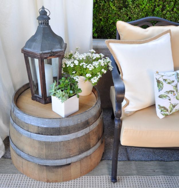 Half Wine Barrels as Side Tables | 13 DIY Country Home Projects