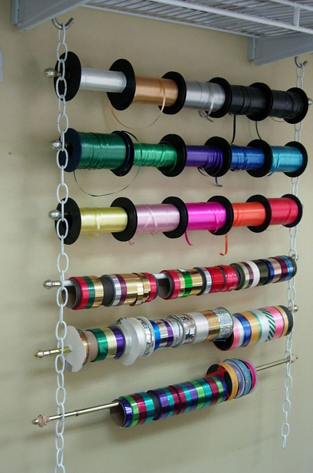 Hanging Ribbon Organizer | 26 Craft Room Ideas Every Crafter Would Love