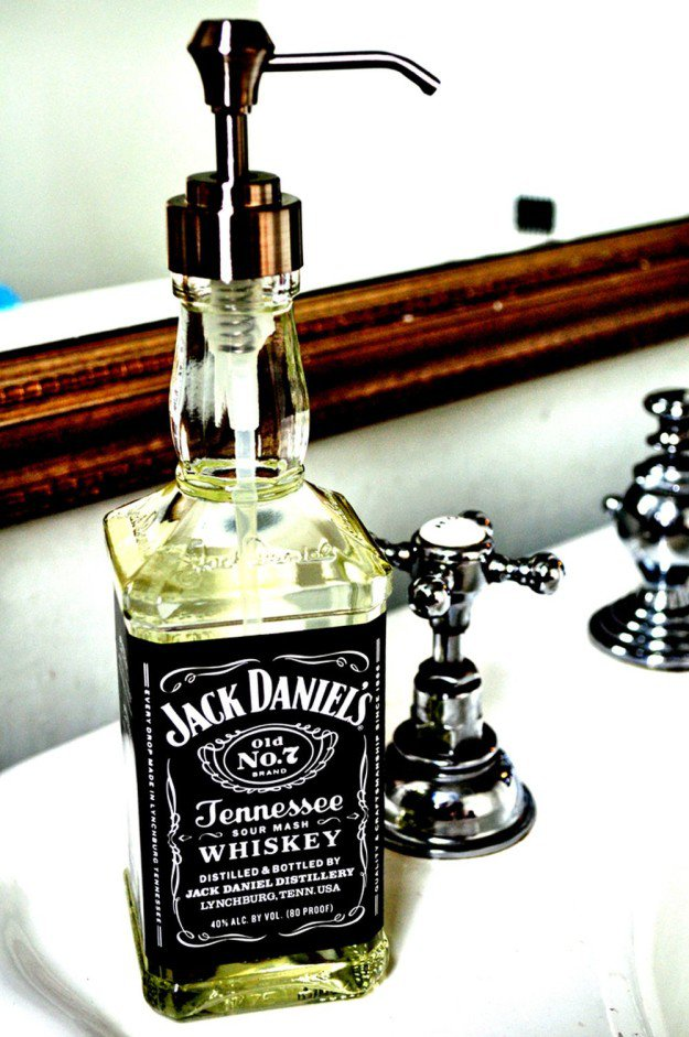 Jack Daniel's Soap Dispenser   15 Free Recycled Craft Ideas: Beautify Your Space Without Spending a Dime