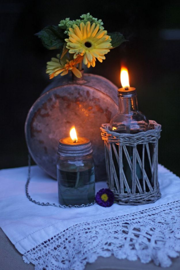 Mason Jar Oil Lamp | 13 DIY Country Home Projects