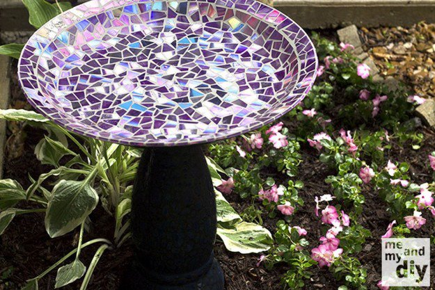 Mosaic Tile Birdbath With Recycled DVDs   15 Free Recycled Craft Ideas: Beautify Your Space Without Spending a Dime