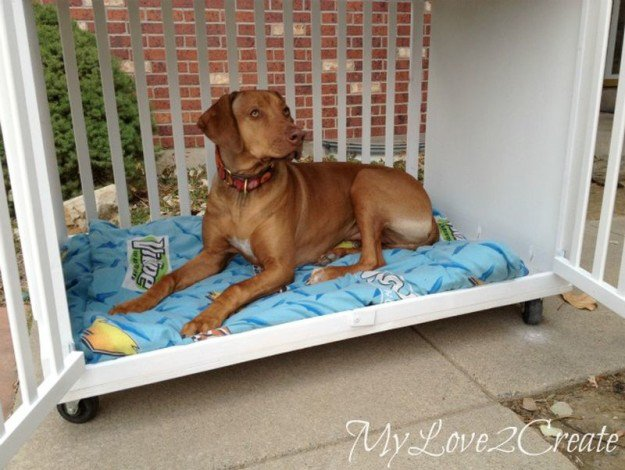 Repurposed Crib Dog Crate | 25 DIY Projects Your Pet Will Love
