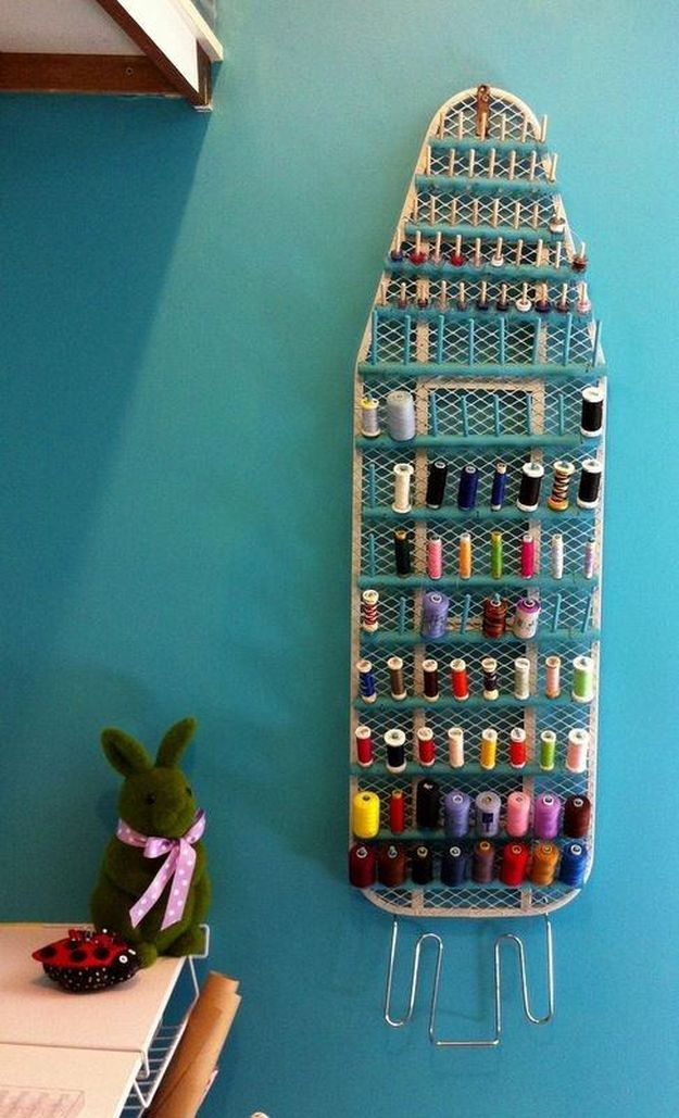Repurposed Ironing Board | 26 Craft Room Ideas Every Crafter Would Love