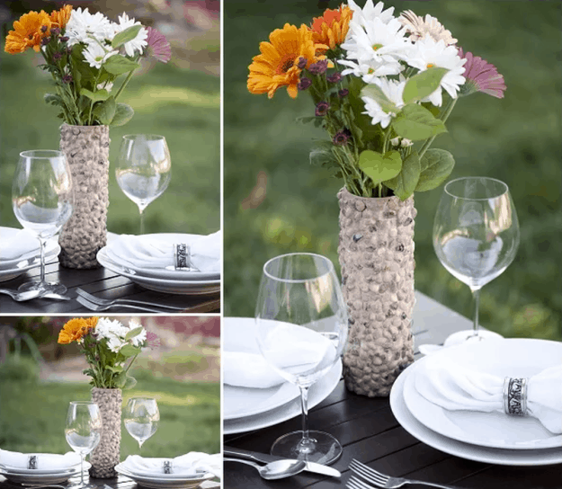 Rustic Rock Vase from An Empty Can of Pringles | 15 Free Recycled Craft Ideas: Beautify Your Space Without Spending a Dime