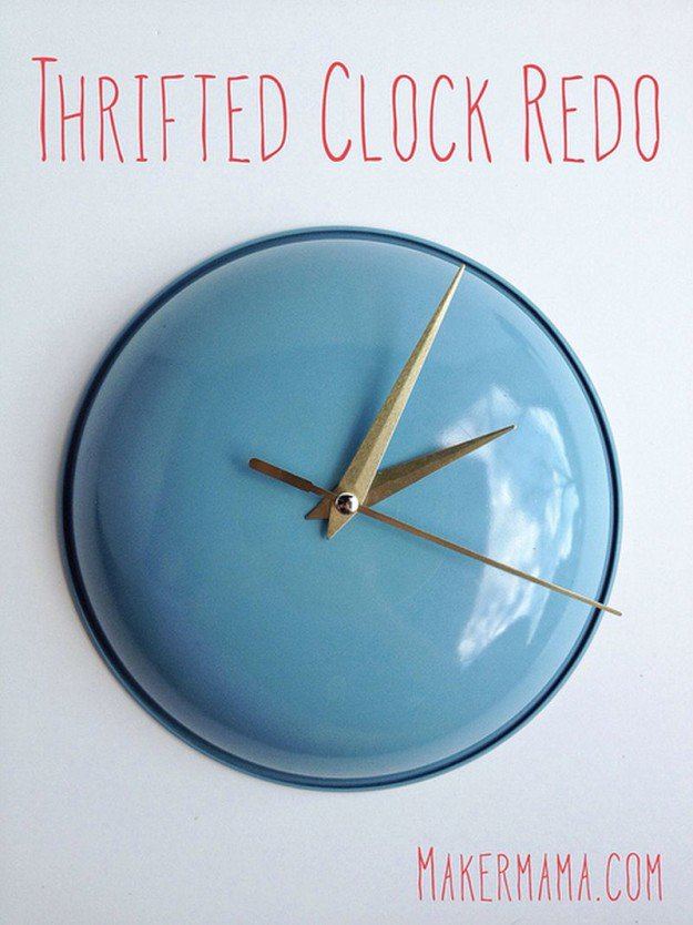 Thrifted Clock Redo | 15 Free Recycled Craft Ideas: Beautify Your Space Without Spending a Dime