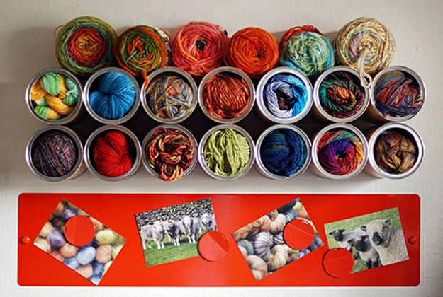 Yarn-holding Coffee Can Cubbies | 26 Craft Room Ideas Every Crafter Would Love