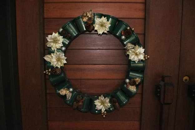 Yogurt Cup Wreath | 15 Free Recycled Craft Ideas: Beautify Your Space Without Spending a Dime