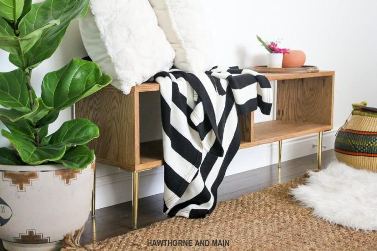 DIY Mid-Century Modern Bench | DIY Home Decorating Ideas For Mid Century Modern Lovers