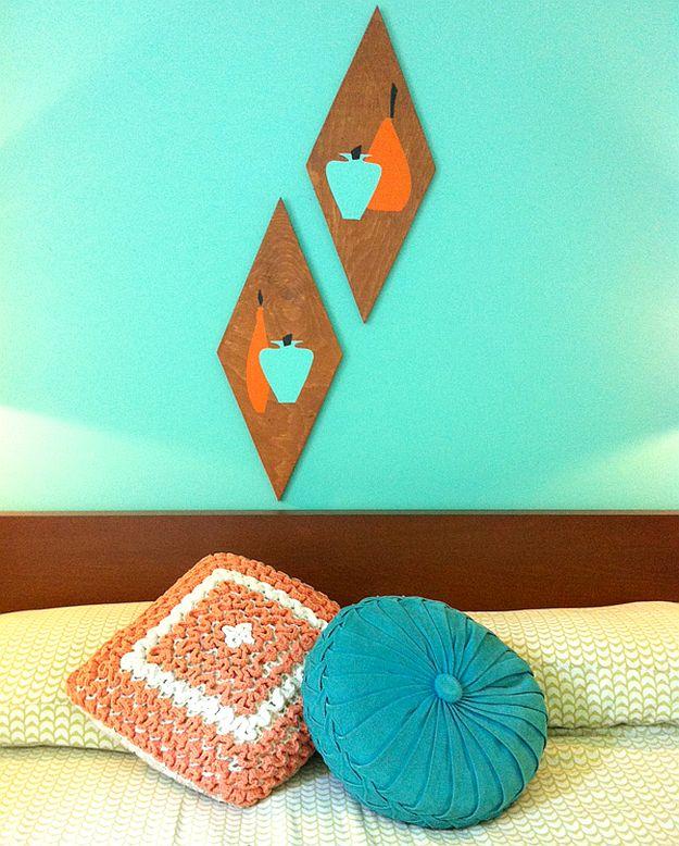 DIY Retro Wood Wall Art | DIY Home Decorating Ideas For Mid Century Modern Lovers