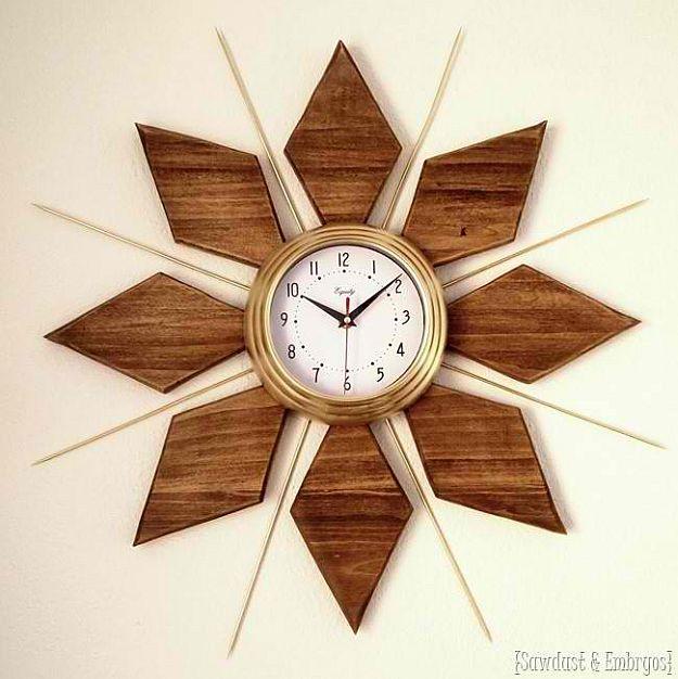 DIY Starburst Wall Clock | DIY Home Decorating Ideas For Mid Century Modern Lovers