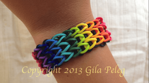 Gila How to Make a Colorful Loom Bracelet green blue yellow red rubber bands