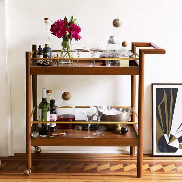 Include A Bar Cart | DIY Home Decorating Ideas For Mid Century Modern Lovers
