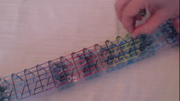 Second layer with black bands | How to Make a Colorful Loom Bracelet