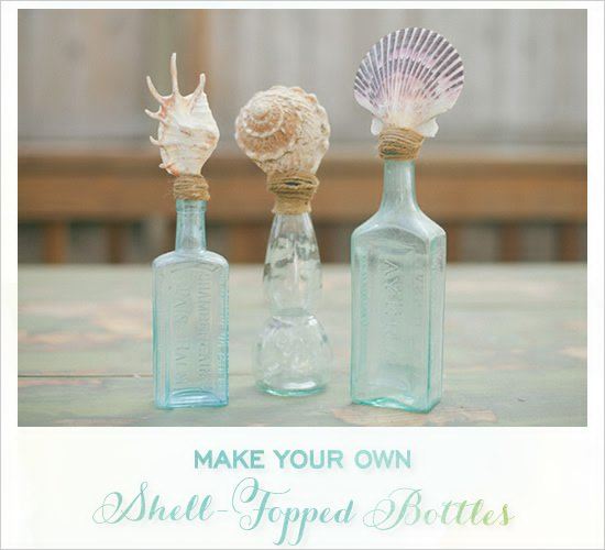Shell topped Bottles | 15 Easy Seashell Crafts To Bring The Beach Indoors