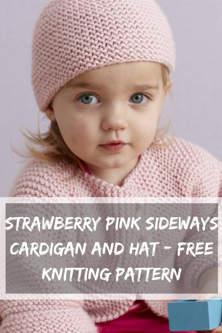 Strawberry Pink Sideways Cardigan And Hat Free Knitting Pattern