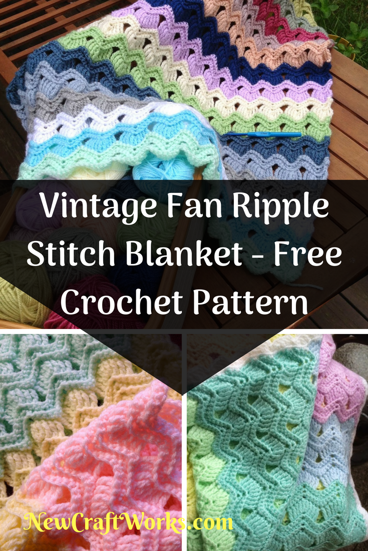 Vintage Fan Ripple Stitch Blanket Free Crochet Pattern New Craft