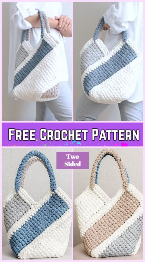 Tunisian Crochet Ten Stitch Handbag Free Crochet Pattern New